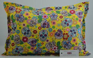 "Handmade Sugar Skulls Yellow Oxford Style Cushion Inc Pad 14""x20"" (36cm x 51cm)"
