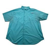 Columbia PFG Performance Fishing Gear Short Sleeve Blue Button Up Shirt Mens XL