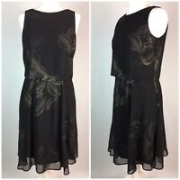 Black Gold Cocktail Dress M&Co UK 10 Petite Floaty Layered Fit Flare Party Xmas
