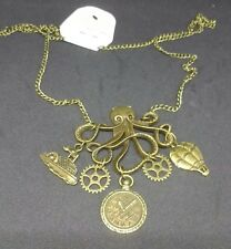 Steampunk, Goth, Victorian Necklace With Kraken/Octopus Pendant With Charms