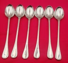 6 English Thread Sheffield Stainless Steel Iced Tea Spoons #6543
