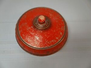 Antique Metal Red Round Sewing Box Tin Thread Holder 3 ps with Lid With NOTIONS