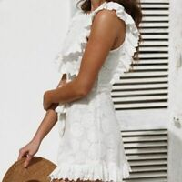 Elegant Embroidery Lace Women Dress Hollow Out Sashes Ruffle White Summer //