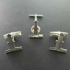 Vintage Sterling Silver Tone Metal Oil Well Rig Cuff Links & Tie Tac Set