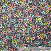 BonEful Fabric FQ Cotton Quilt VTG Gray White Yellow Blue Pink Flower Leaf S Dot