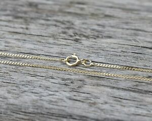 9ct Gold Fine Diamond Cut Curb Chain Necklace (0.7mm / 16 inches / 0.58g)