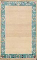IVORY Bordered Gabbeh Kashkoli Oriental Area Rug Hand-knotted Wool Carpet 3'x5'