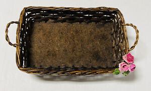 Brown Rectangle Weave Basket Particle Board Base Pink Roses Green Leaves VTG