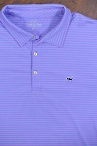 Vineyard Vines Performance Polo Shirt Purple Blue Stripe Men's XL