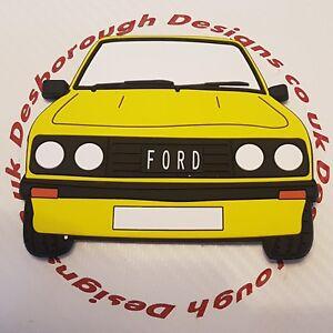 Ford MK2 Escort Rs 2000 Large Fridge Tool Box Magnet Coaster Signal Yellow