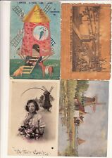Lot 4 cartes postales anciennes FANTAISIES moulin muhle mill mulino