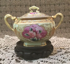 Nippon Porcelain Hand Painted Roses Sugar Bowl Gold Gilded 1905