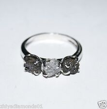 ring 925 silver fine Engagement N R 1.20 Tcw Natural Uncut Raw Rough Diamond