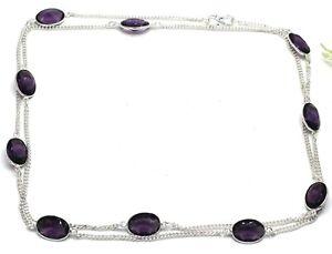 "925 Sterling Silver Purple Amethyst Gemstone Jewelry Necklace Size-30-32"""