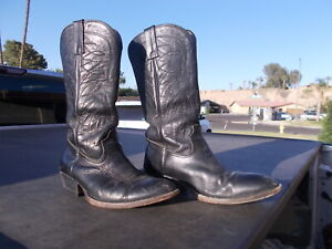 Used Unmarked Black Western Cowboy Boots Mens Think Sz 8.5
