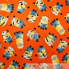 BonEful Fabric FQ Cotton Quilt Orange Yellow Minion Movie Car*toon Kid Character