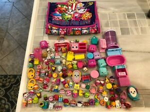 Large Lot of 130+ Shopkins w/ Accessories Fashion and Food & Storage Case