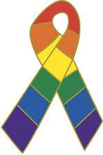 Rainbow Ribbon Flag Gay Lesbian Pride LBGT Lapel Hat Pin USA SHIPPER