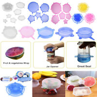 1-12pcs Heat Resistant Silicone Stretch Lids Food Wrap Bowl Pan Seal Cover UK
