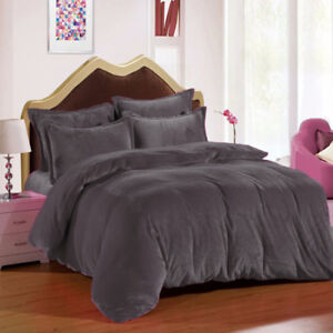 New  Bedding 3 PC Full / Queen / Oly Queen Grey Plain Velvet Duvet Cover Set