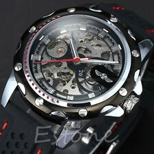 Men's Military Automatic Mechanical Skeleton Stylish Silicone Sport Wrist Watch