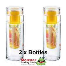 2 x INFUZEH20 FRUIT INFUSER YELLOW BOTTLE BPA FREE MAKE YOUR OWN FLAVOURED H2O
