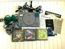Original Sony PlayStation 1 PS1 SCPH-9001 Bundle 2 Controllers 10 Games Mem Card