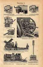 Antique print Assault gun armour geschütz ww1 1910