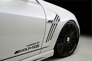 Powered by AMG Mercedes Benz Sport Racing Decal sticker emblem logo BLACK Pair