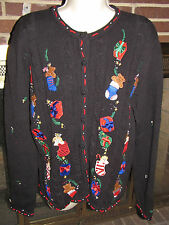 Womens Designers Studio Christmas Cardigan Black W/Embroidered Design Sz Làrge