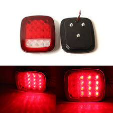 2pcs Red White Stud Mount Stop Turn Signal Light 16 LED Taillight for Car Truck