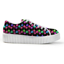 Womens Lace Up Punk Creepers Goth Platform Floral Designs Casual Walking Shoes