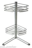 Non Rust 2 Tier Corner Free Standing Shelf Storage Shower Bath Caddy Organiser