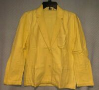 Vintage Womens Marc O'Polo Handwoven Cotton Yellow 2-Button Career Jacket Blazer