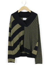 The Masai Clothing Company Black & Moss Striped Cashmere Mix Jumper S (UK 10)