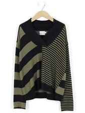 The Masai Clothing Company Black & Moss Striped Cashmere Mix Jumper S (UK 10)