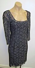 DOLCE & GABBANA Gray Cotton Blend Lace Floral Dress w/ Half Sleeves - Size 40