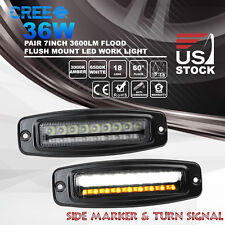 2x 7inch 36W Flush Mount CREE LED Flood Work Light Bar Turn Signal Driving Lamps