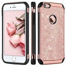 iPhone 6 Plus Hard Case Cover Glitter Faux Leather Soft TPU Bumper Shockproof