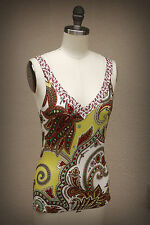 ETRO Size XS/S Paisley Floral Dragonfly Stretch Tops Made in Italy