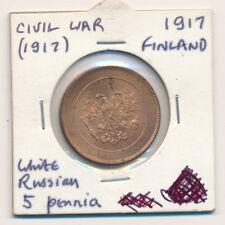 Finlandia 5 PENNI 1917 guerra civile periodo di alta qualità BU CA