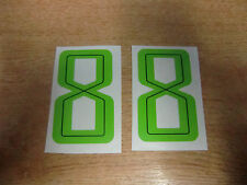 2x GUY MARTIN race number 8 - GREEN Stickers / Decals  - 65mm