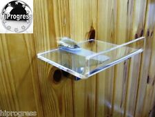 "Wall Clear Plexi-glass Square Shelf Holder Stand 5.0""X5.0""with Edge & XL Bracket"