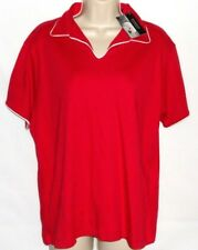 Ultra Club Egyptian Interlock Womens Cotton Polo Shirt Size 2XL Relax Fit Red
