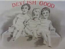 Vintage Devilish Good Cigars Embossed Sign Smoking Toddlers? > Antique 9967