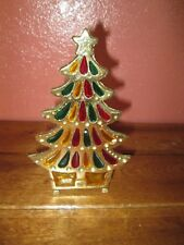 Vintage Stained Glass Looking Cast Iron CHRISTMAS TREE Candle Holder 7 1/4""