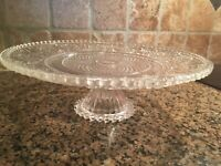 """Vintage clear glass cake plate 9 1/2"""" diameter"""