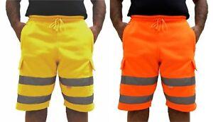 Hi Viz Mens Combat Work Wear Jogging Shorts Bottoms Brush Trouser Safety Joggers