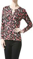 ToBeInStyle Women's Long Sleeve Sleeve Rose Print Crew Neck Cardigan Sweater