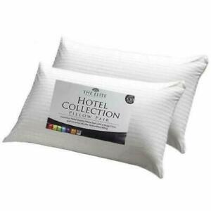 4x High Quality Luxury Hotel Pillows Soft Feel Satin Stripe